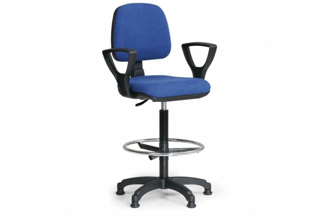 Zvýšená kancelářská židle Milano s područkami modrá