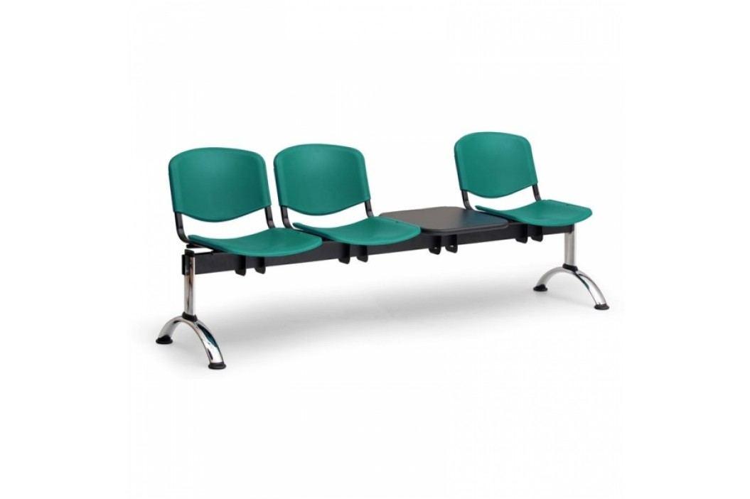 Plastové lavice ISO, 3-sedák + stolek, chrom nohy modrá