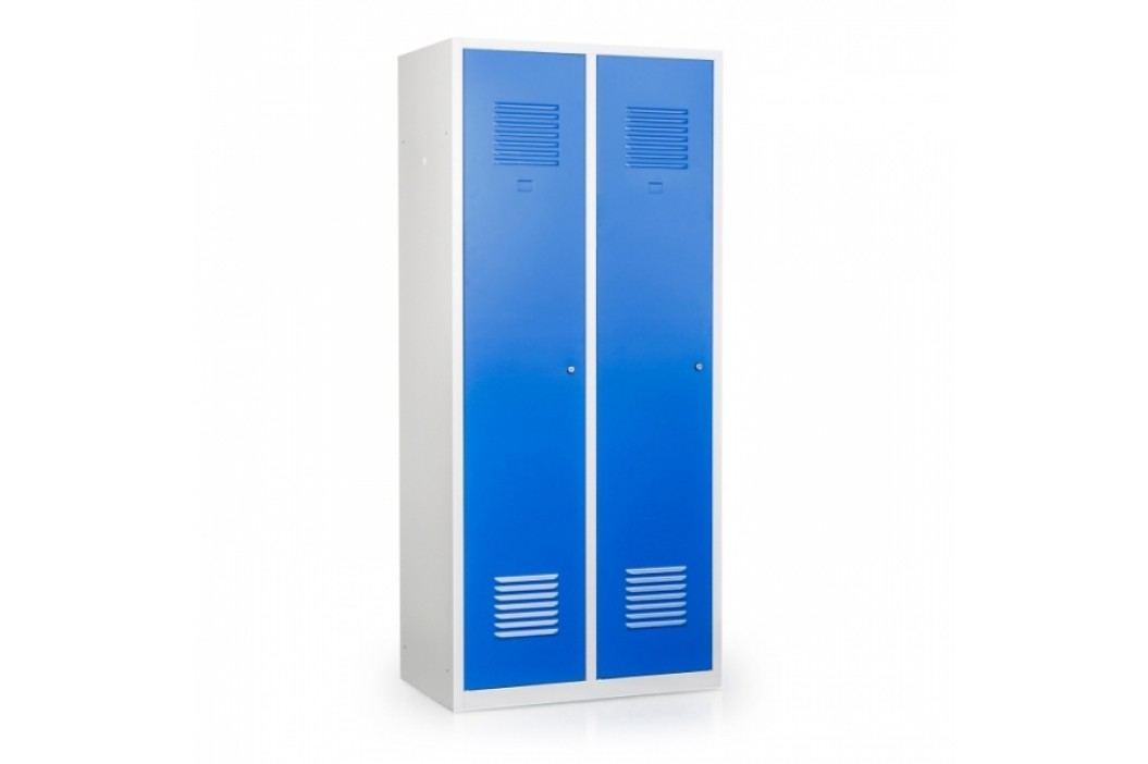 Profi kovová skříň svařovaná na soklu 80 s přepážkou světle šedá - ral 7035