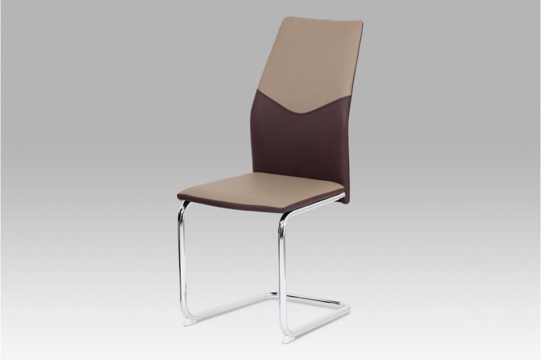 Jídelní židle koženka cappuccino + hnědá / chrom obrázek inspirace