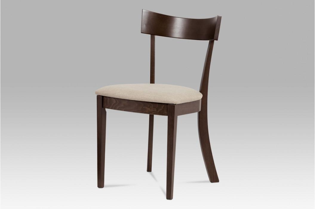 Jídelní židle, barva ořech, potah krémový