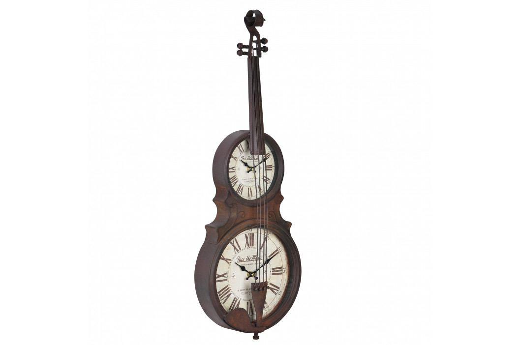 Nástěnné hodiny ve tvaru smyčcového hudebního nástroje - analogové - 47 x 6 x 62 cm - barevné - sklo