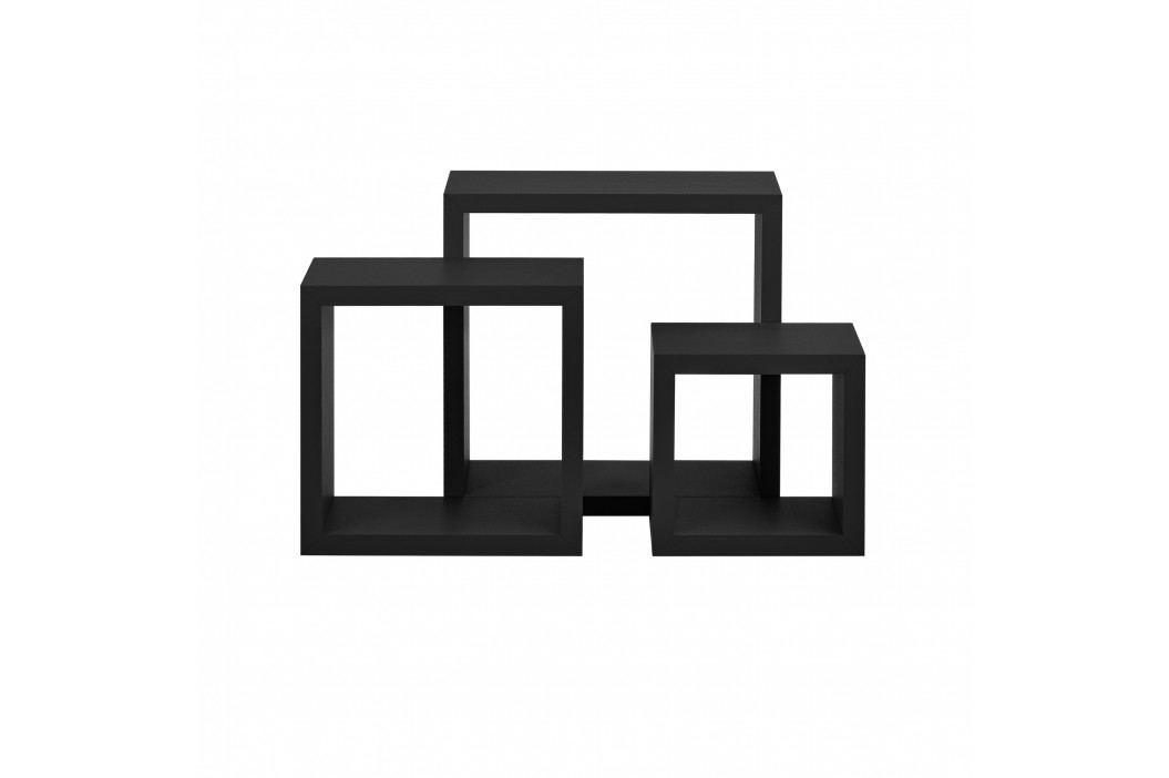 Třídílná sada designových polic na zeď - černá
