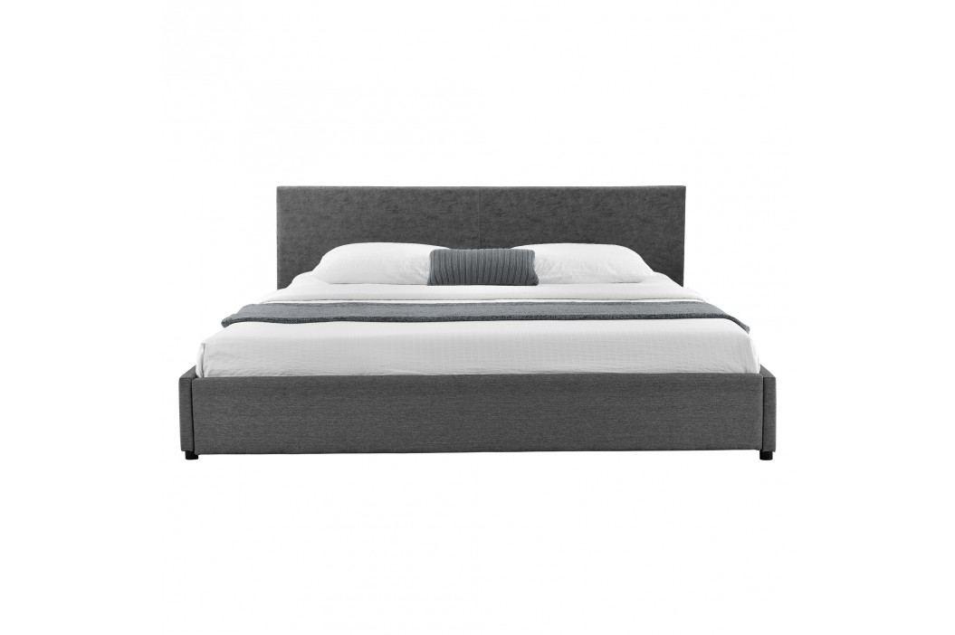 Elegantní manželská postel - 180x200cm (Záhlaví: alcantara koženka šedá / Rám: textil šedá) - s roštem