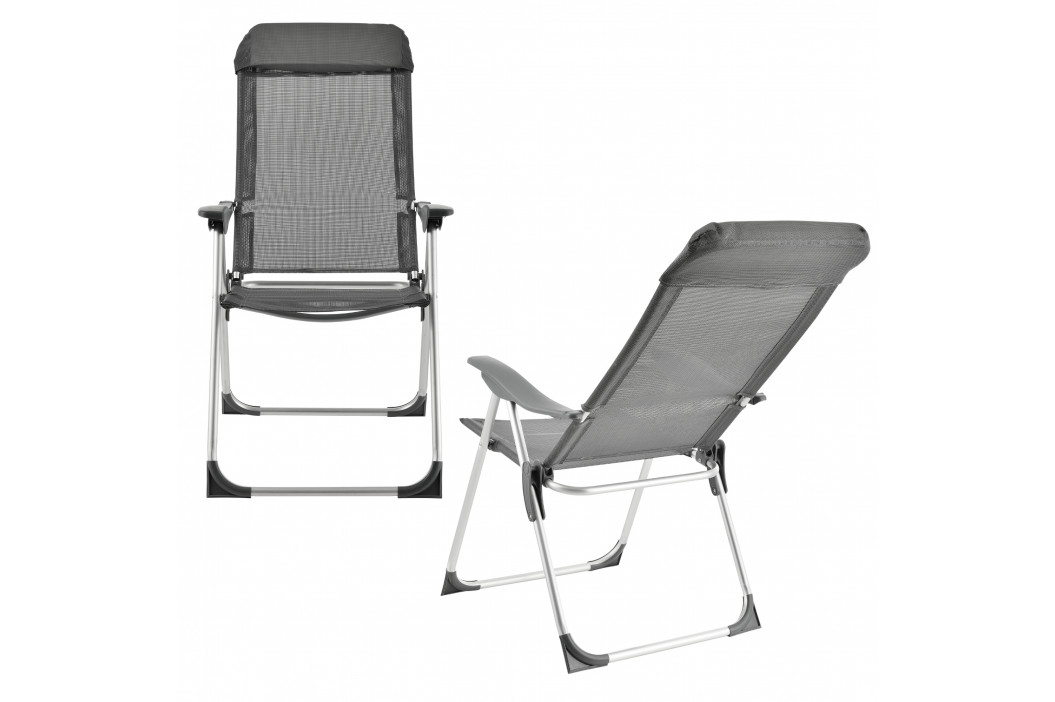 Campingové židle - rybářské křeslo set,108 x 58 cm,43 cm,tmavo šeda