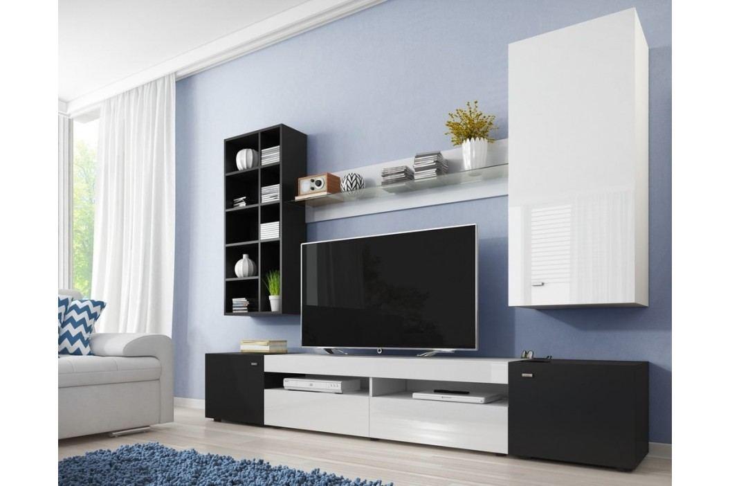 *Obývací stěna TRE černá/bílý lesk