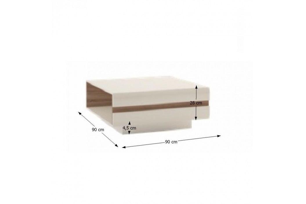 Konferenční stolek, dub sonoma tvavý truflový/bílá extra vysoký lesk HG, LYNATET TYP 70