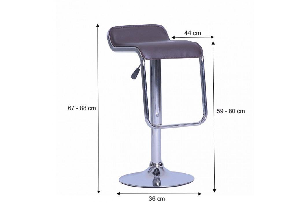 Barová židle, ekokůže hnědá / chrom, ILANA