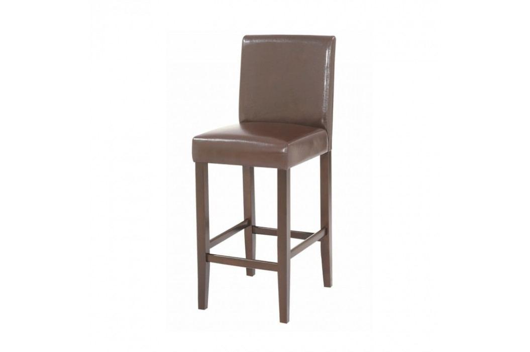Židle barová, text. kůže PU / dřevěné nohy, tmavě hnědá, MONA NEW obrázek inspirace