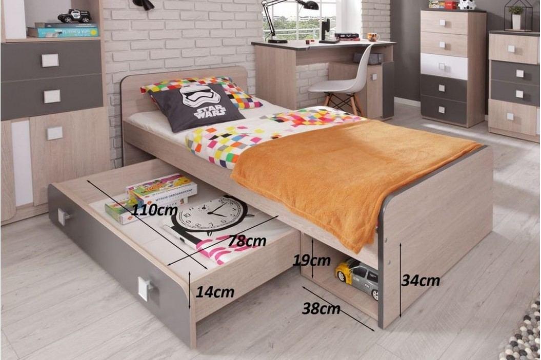 DUO D9 postel 80x200 cm santana/popel
