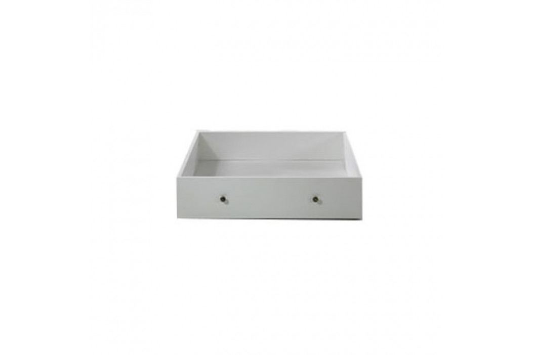Zásuvný kontejner s kolečky pod postel, DTD fóliovaná / MDF lakovaná, bílá, PARIS