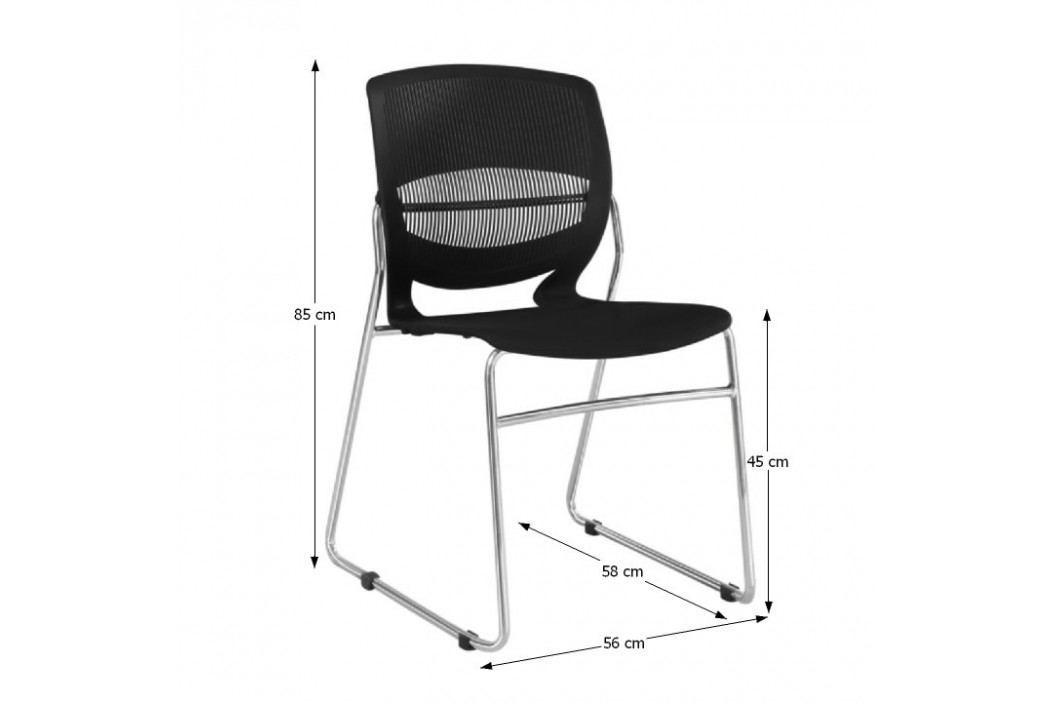 Kancelářská židle, plast + kov, černá, IMENA
