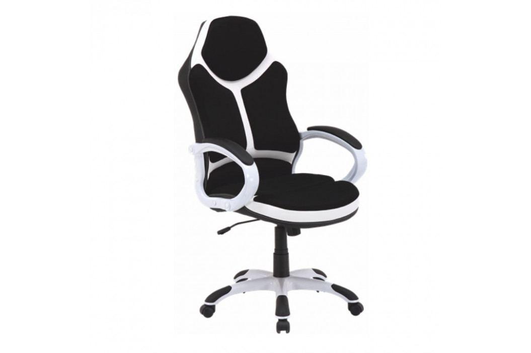 Kancelářské křeslo, ekokůže bílá / černá, ARETAS