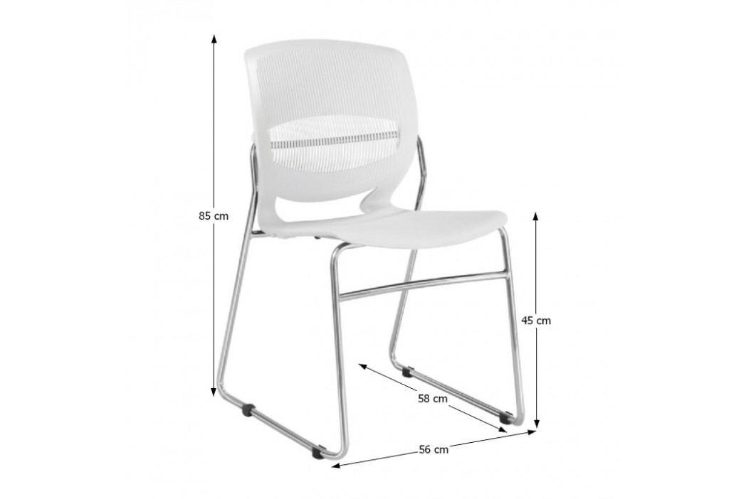 Kancelářská židle, plast + kov, bílá, IMENA
