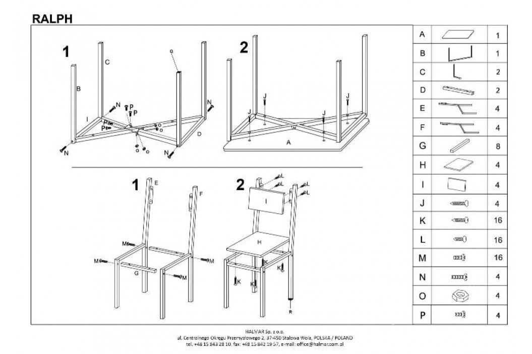 RALPH zestaw stół + 4 krzesła dąb sonoma