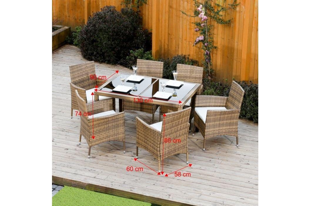 Zahradní set, jídelní stůl + 6x židle, ratan, medová / krémová, GARDEN