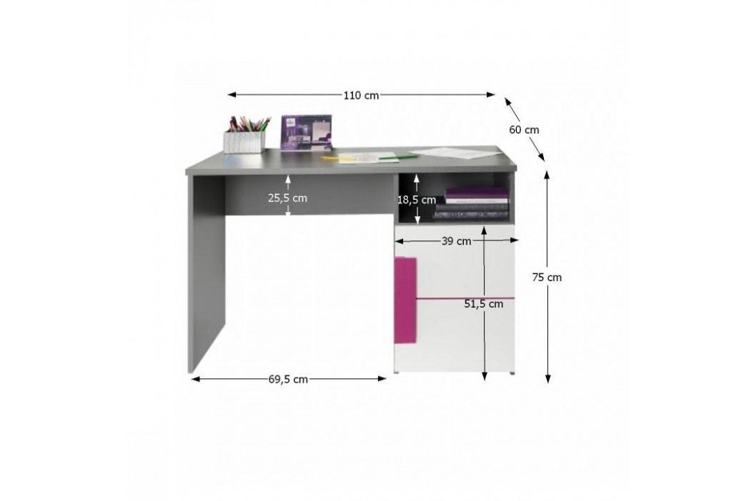 PC stůl, šedá / bílá / fialová, LOBETE 21
