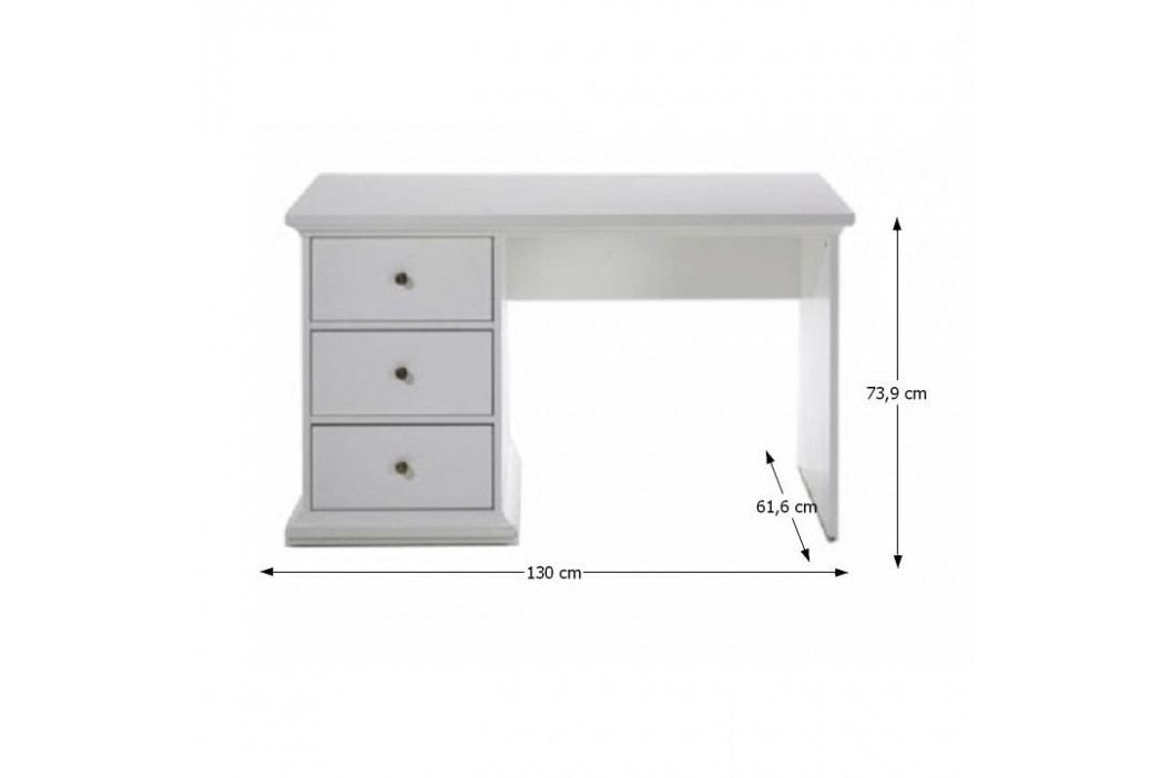 PC stůl, DTD fóliovaná / MDF lakovaná, bílá, PARIS