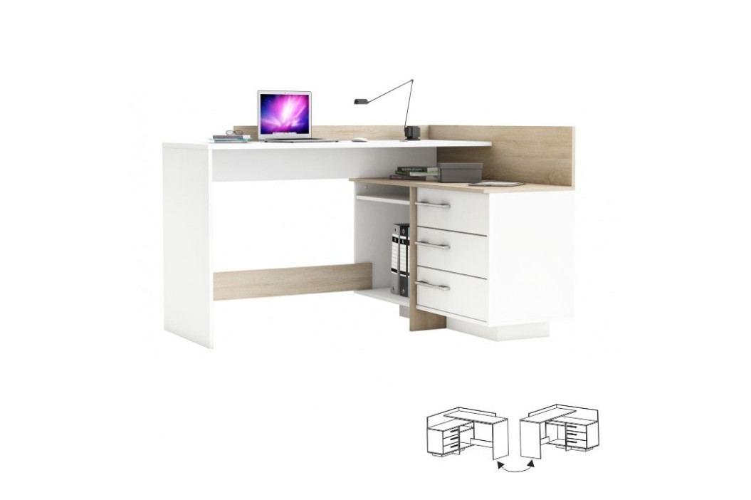 PC stůl, L / P, rohový, dub sonoma / bílá, TALE 484881