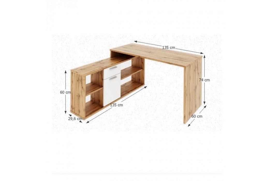 PC stůl, dub Wotan / bílá, NOE NEW obrázek inspirace