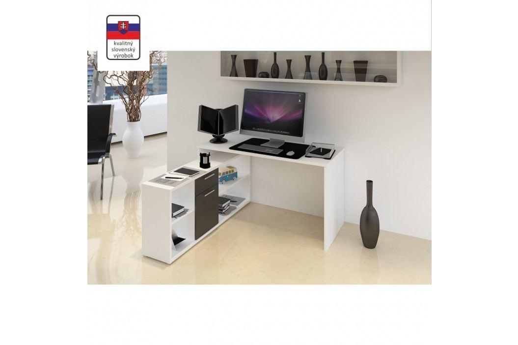 PC stůl, bílá / černá, NOE NEW