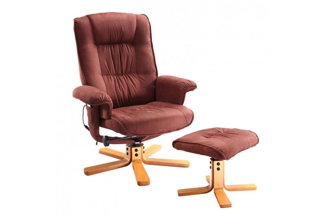 Relaxační masážní křeslo s podnožkou hnědé K47