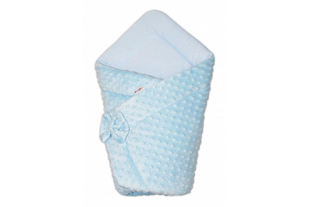 Baby Nellys Luxusní zavinovačka s mašlí 75x75cm, Minky Baby Duo - modrá