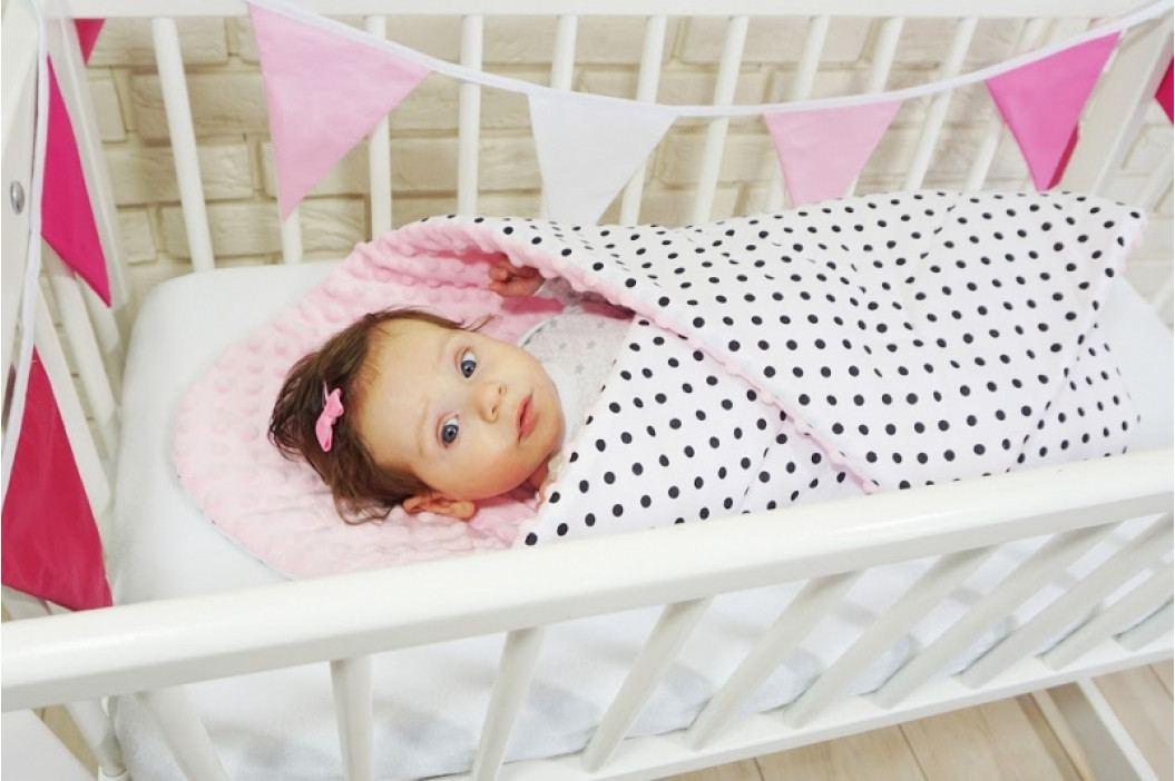Baby Nellys Oboustranná zavinovačka Minky - Plameňák, Minky - růžová