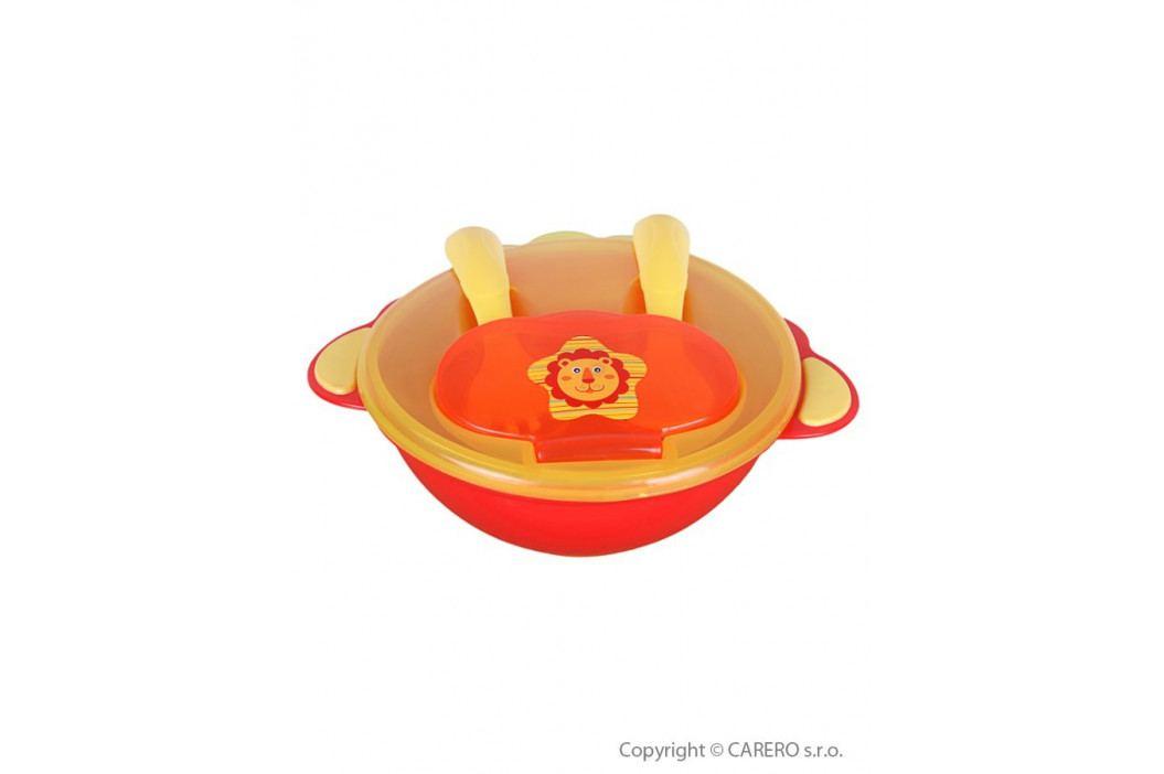 Dětská miska se lžičkou a vidličkou  Akuku oranžová