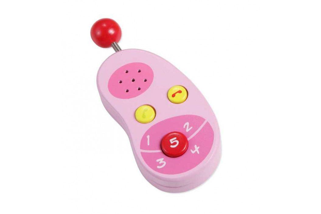 Classic world Dřevěné hračky - Dřevěný růžový mobilní telefon