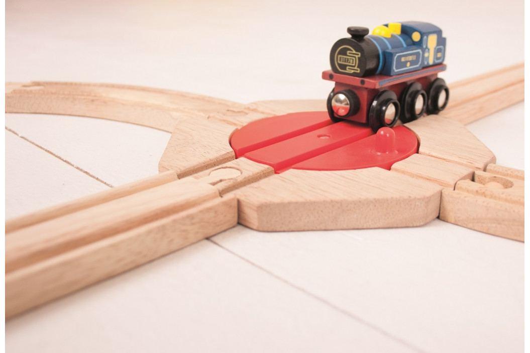 Bigjigs Rail Dřevěné vláčkodráhy Bigjigs - Točna se 4 výjezdy