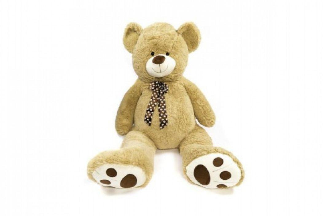 Teddies Medvěd s mašlí plyš 130cm béžový v sáčku 0+