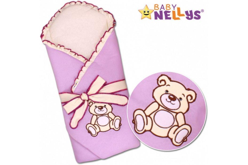 Baby Nellys Zavinovačka s výztuží Teddy Bear - velur - lila
