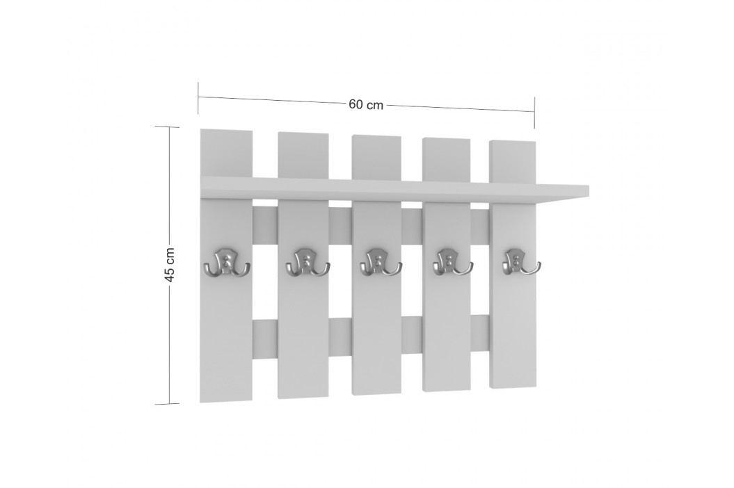 Nástěnný věšák 5 svislých desek s policí bez pásku