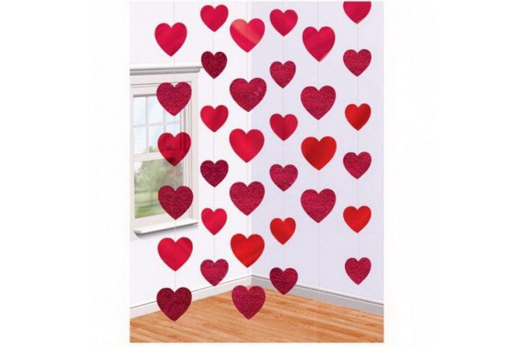 Řetězová dekorace srdce červená