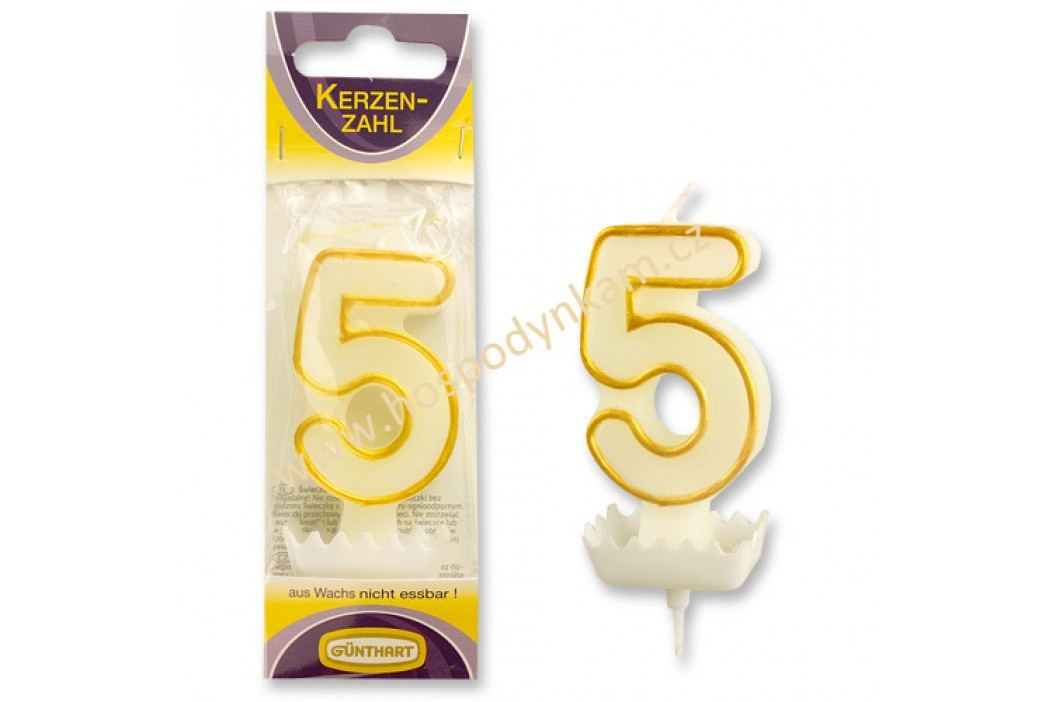 Dortová svíčka číslice 5, bílo-zlatá