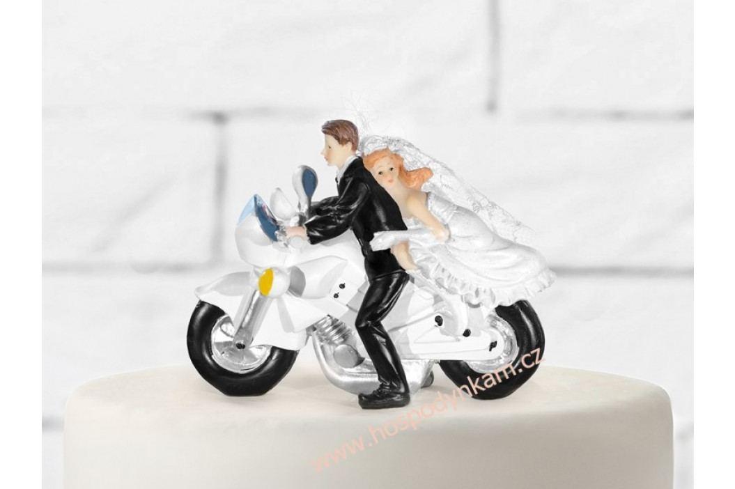Figurka na dort - nevěsta a ženich na motorce