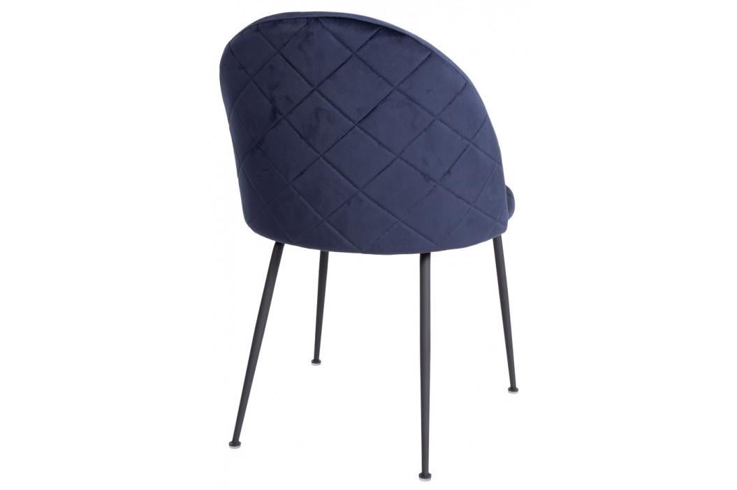 Nordic Living Modrá sametová jídelní židle Anneke s černou podnoží