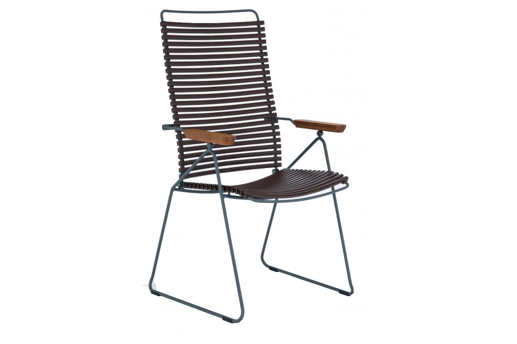 Tmavě hnědá plastová polohovací zahradní židle HOUE Click