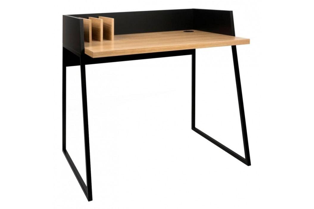Kancelářský stůl Glaucia, dubová dýha, černá 9003.052965 Porto Deco