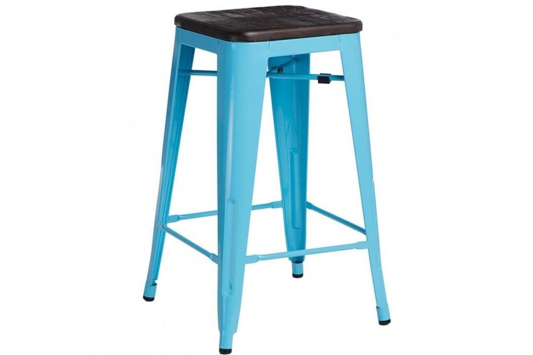 Barová židle Tolix 75, modrá/kartáčovaný ořech 94499 CULTY