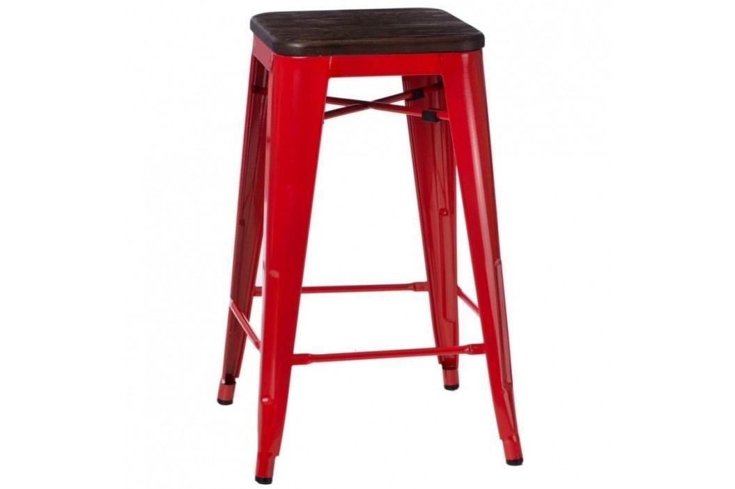 Barová židle Tolix 75, červená/tmavě kartáčované dřevo 94519 CULTY