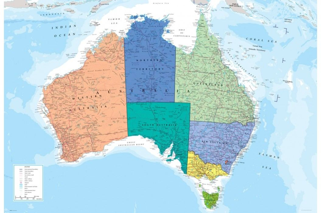 1Wall 1Wall fototapeta Mapa Austrálie 158x232 cm
