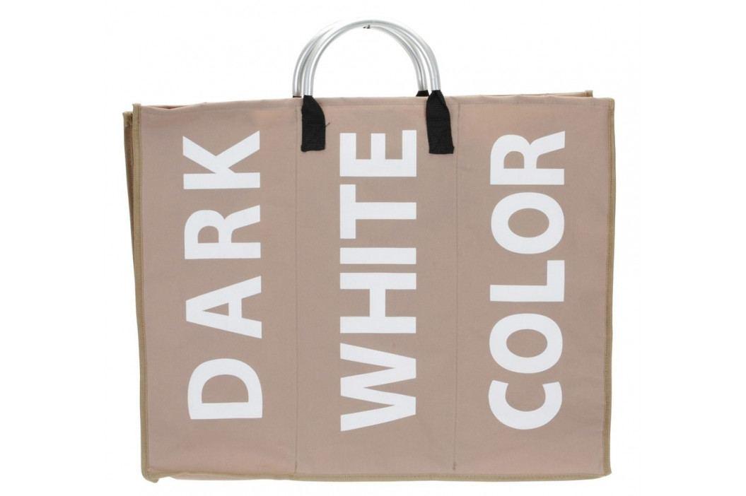 Home collection Trojitý prádelní koš s nápisy sv. hnědý 60x49x32cm