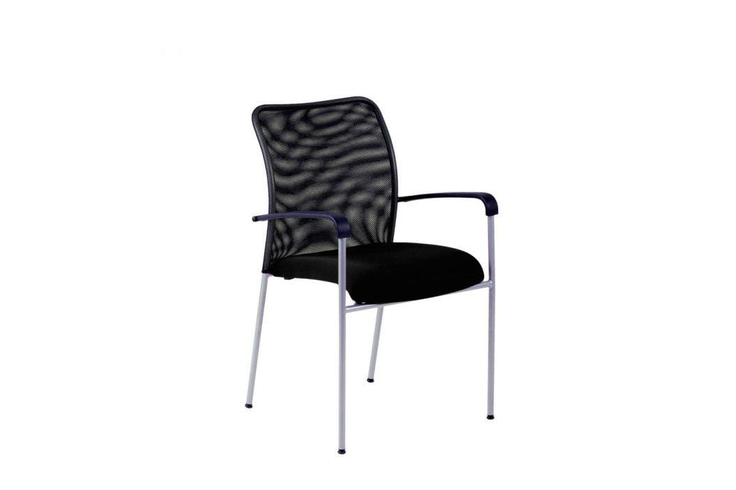 Jednací kovová židle Office Pro TRITON NET – s područkami NET černá