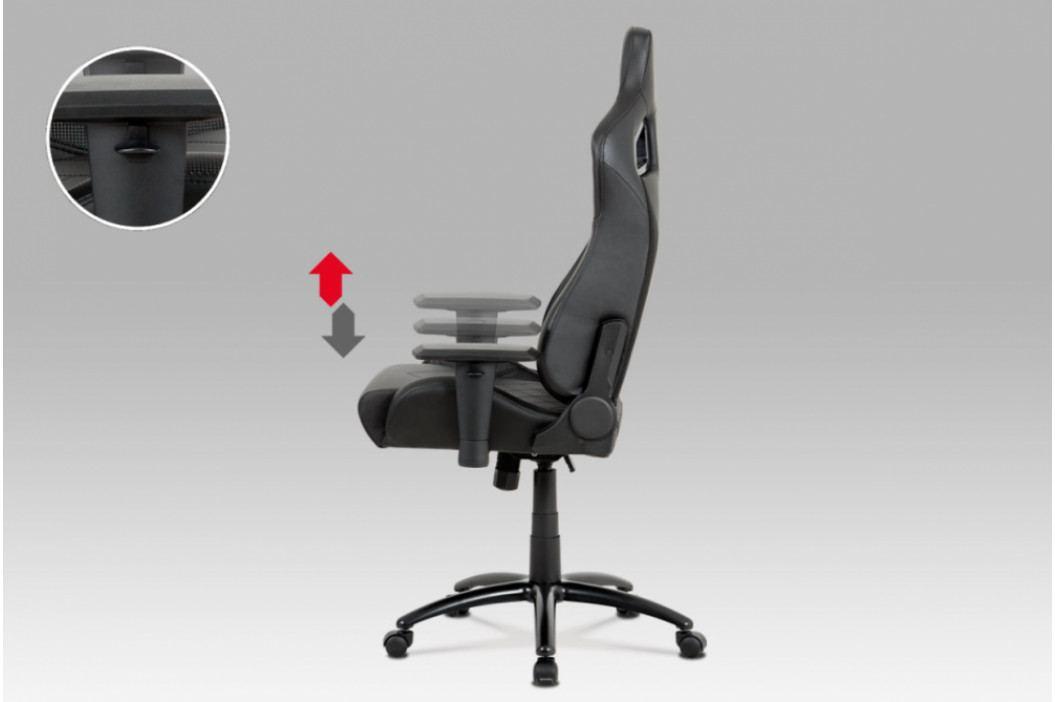 Herní židle na kolečkách ERACER N770 – černá/umělá kůže, nosnost 130 kg