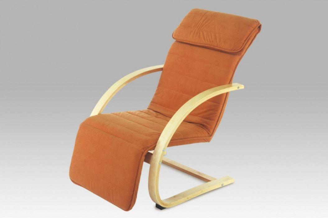 Relax křeslo HAVANA s polohovatelnou opěrkou nohou - masiv buk, oranžová