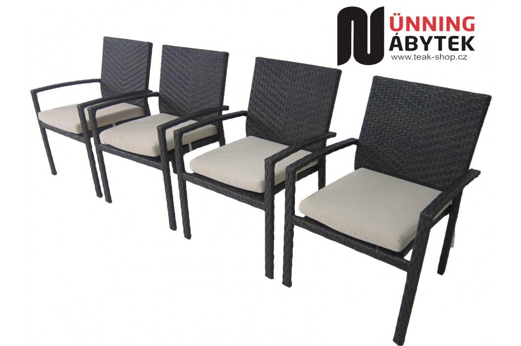 Umělý ratan Židle Horizon s područkami mocca