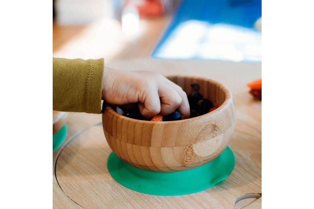 Dětská bambusová miska s přísavkou a lžičkou | růžová - Avanchy