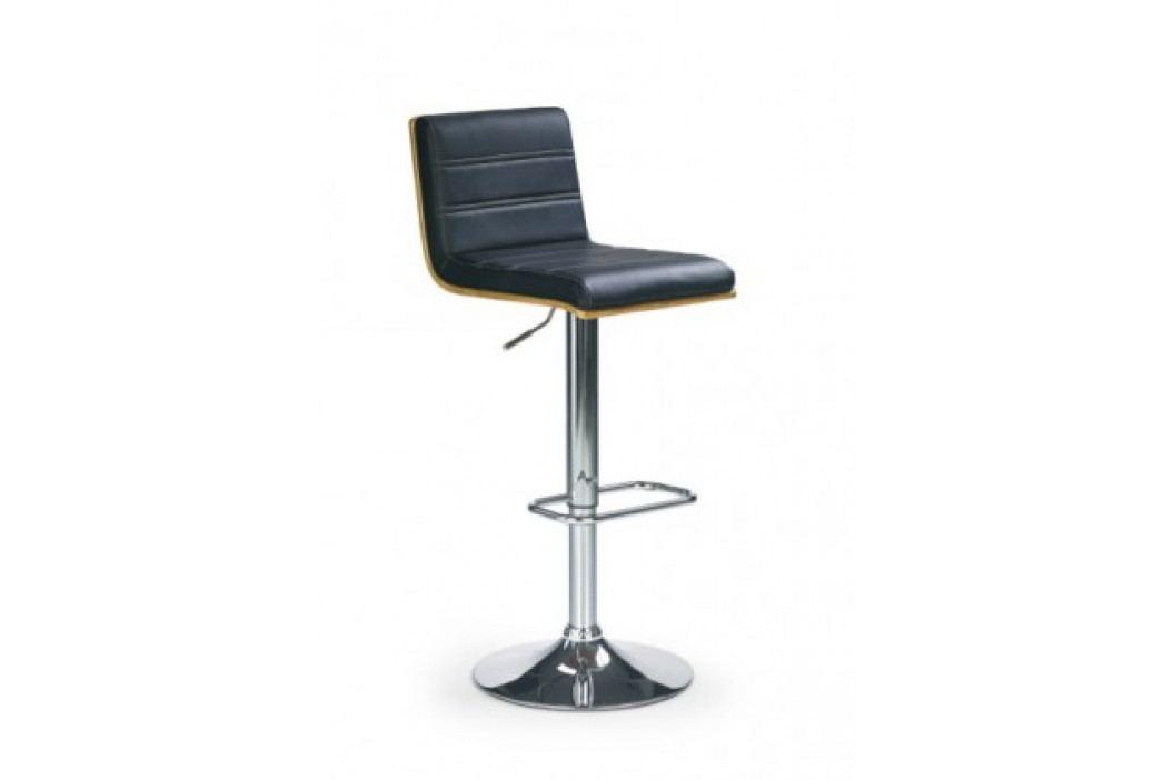 Barová židle H-31 (ořech/eco kůže černá/chrom)
